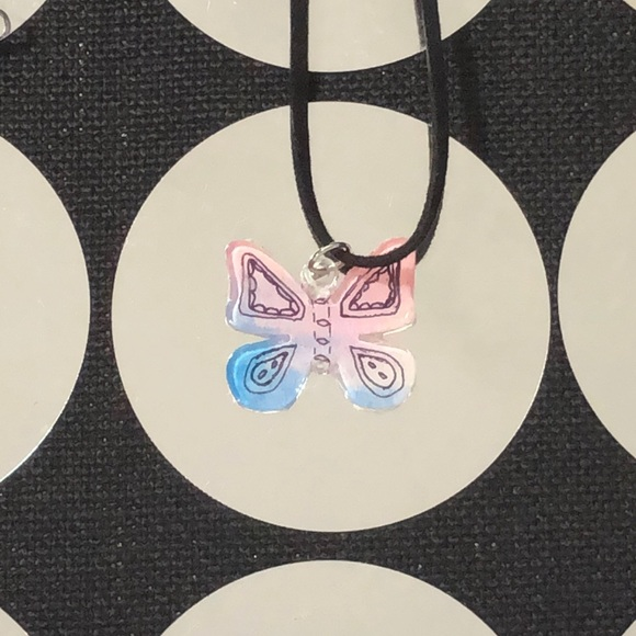 trigger hippies closet Jewelry - Hand painted butterfly charm necklace